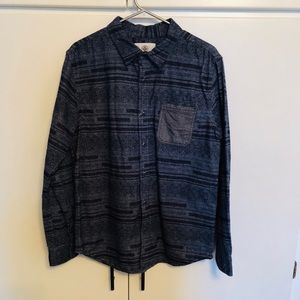Blue Patterned Button Down Flannel